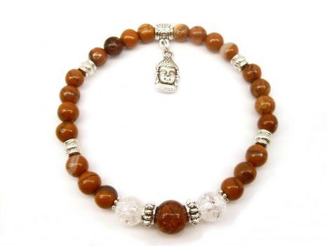 Önbizalom növelő, női bajokat enyhítő, vitalizáló ásványkarkötő, Buddha-fej medállal. LSNK0023_2