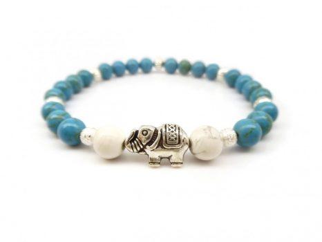 Stresszoldó, méregtelenítő, emésztőrendszert segítő női ásványkarkötő, elefánt köztessel. LSNK0031_3