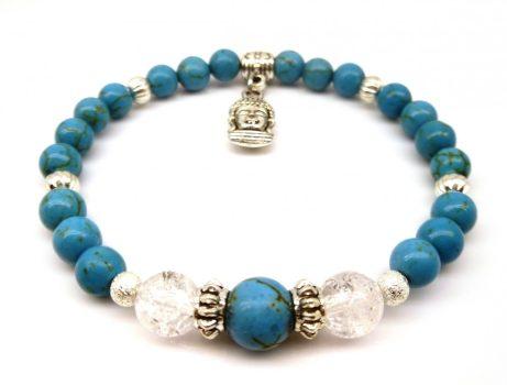 Méregtelenítő, stresszoldó, emésztést segítő női ásványkarkötő, Buddha-fej medállal.  LSNK0032_2